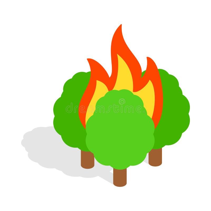 Icône brûlante d'arbres, style 3d isométrique illustration de vecteur