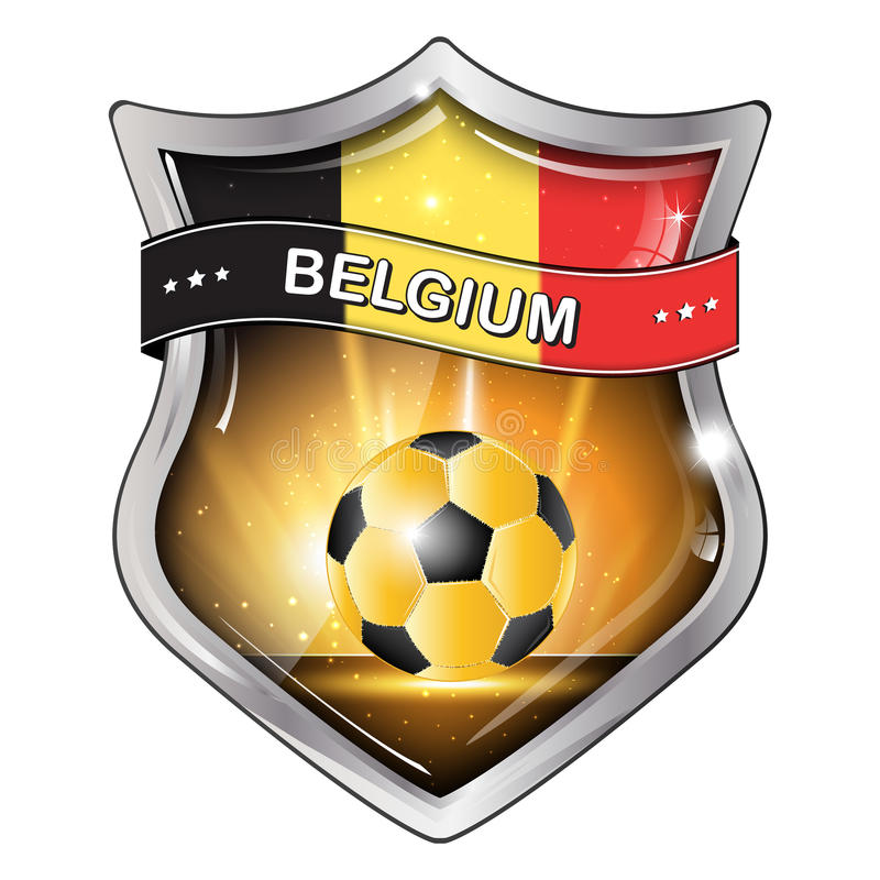 Icône brillante élégante du football de la Belgique illustration stock