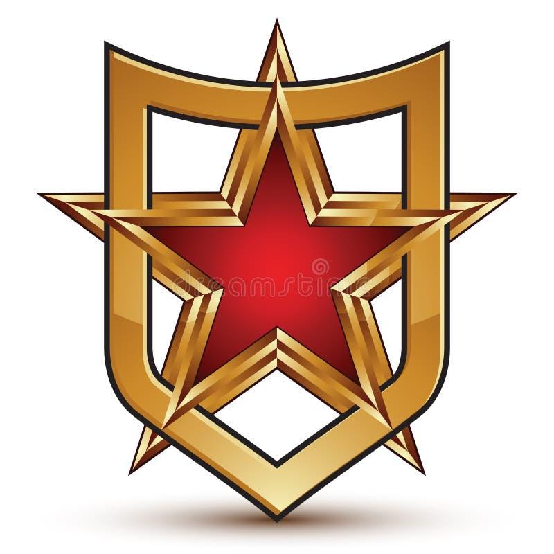 Icône brillante héraldique du bouclier 3d, étoile d'or cinq-aiguë avec du Re illustration de vecteur