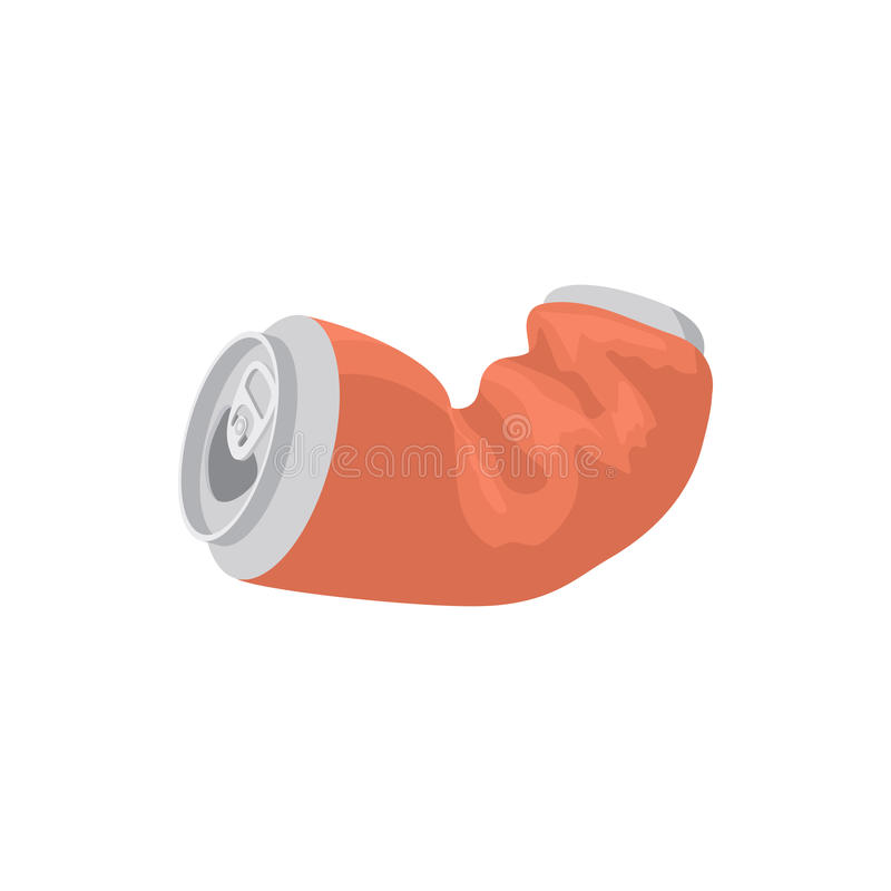 Icône chiffonnée de soude ou de canette de bière, style de bande dessinée illustration de vecteur