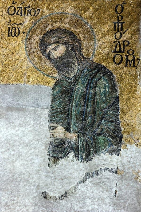 Icône chrétienne de mosaïque de St John le baptiste dans le MOS de cathédrale photographie stock