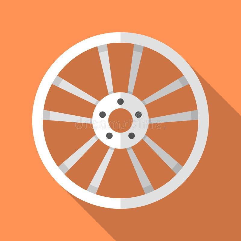 Icône colorée de jante de roue à disque de voiture dans le style plat moderne avec la longue ombre Voiture Part illustration libre de droits
