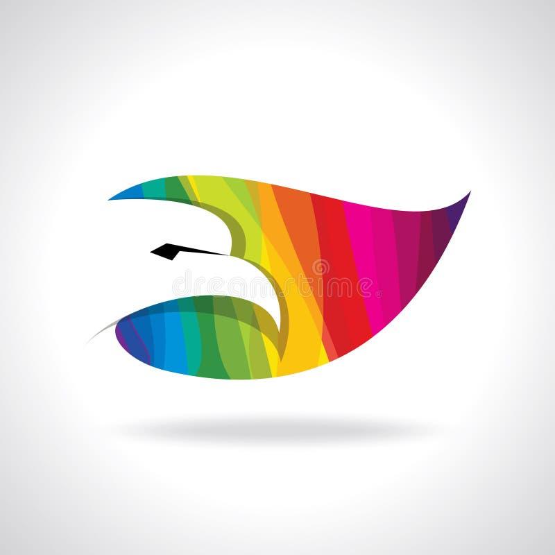 Icône colorée de tête d'aigle sur le fond blanc illustration libre de droits