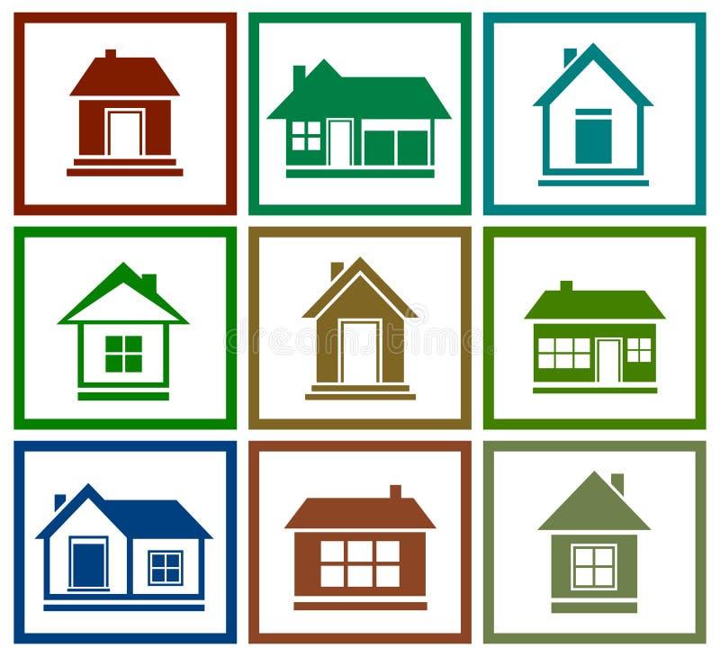 Icône colorée réglée de maison illustration stock