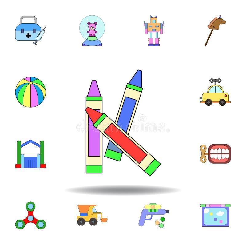 Ic?ne color?e par jouet de crayon de bande dessin?e placez des icônes d'illustration de jouets d'enfants des signes, symboles peu illustration stock