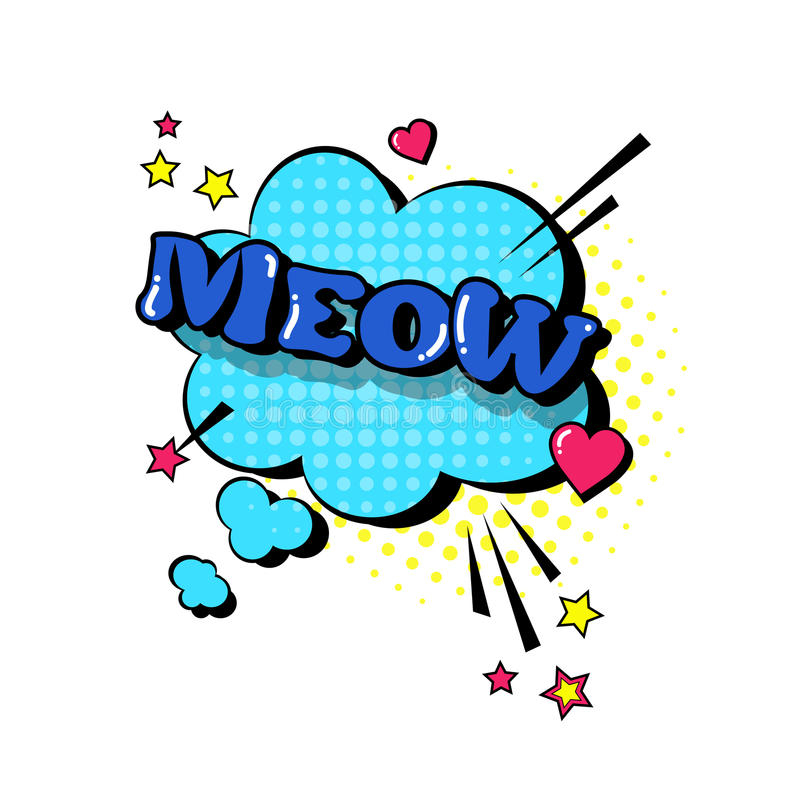 Icône comique d'Art Style Meow Expression Text de bruit de bulle de causerie de la parole illustration de vecteur
