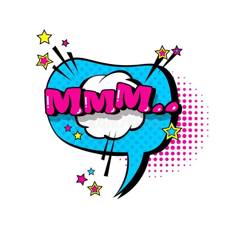 Icône comique d'Art Style Mmm Expression Text de bruit de bulle de causerie de la parole illustration libre de droits