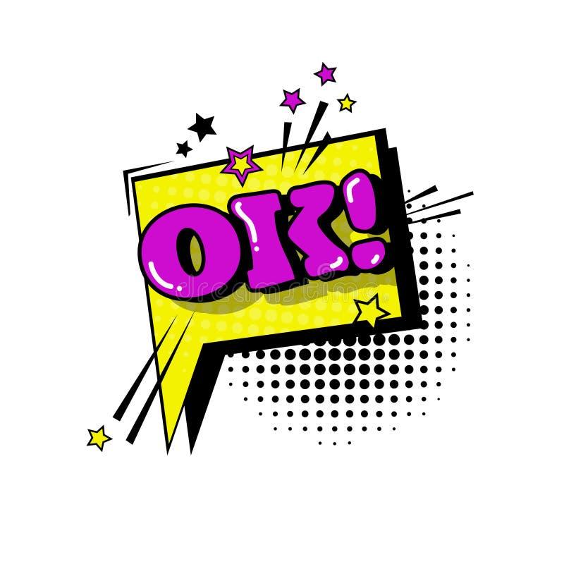 Icône comique d'Art Style Ok Expression Text de bruit de bulle de causerie de la parole illustration de vecteur