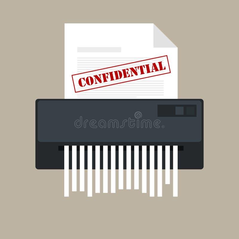 Icône confidentielle du destructeur de papier et protection privée de l'information de bureau de document illustration stock