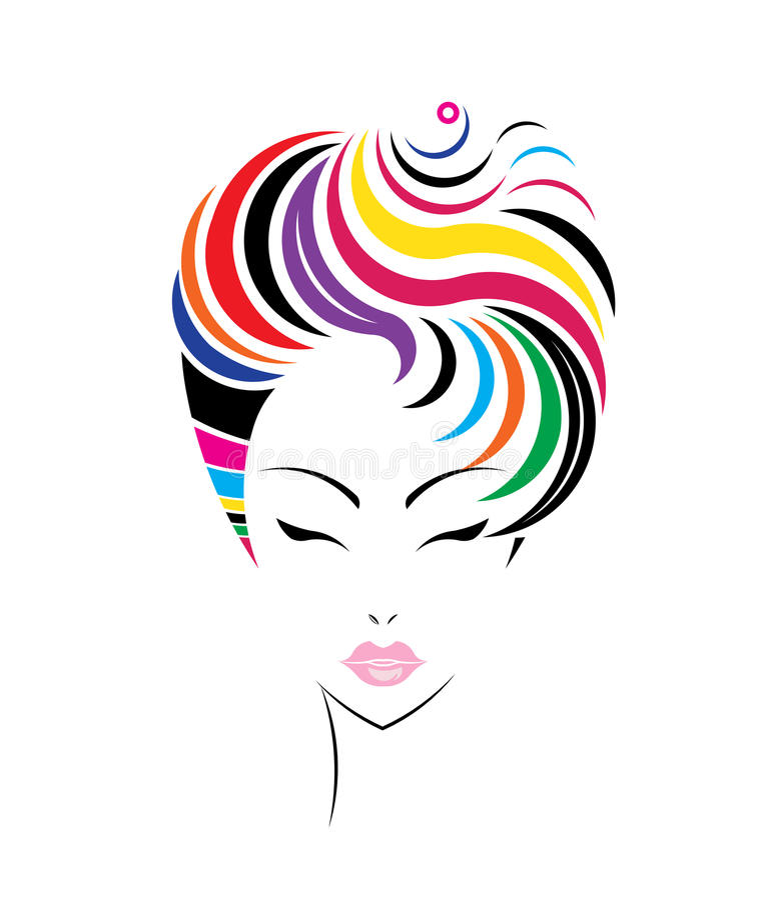 Icône courte de coiffure, visage de femmes de logo