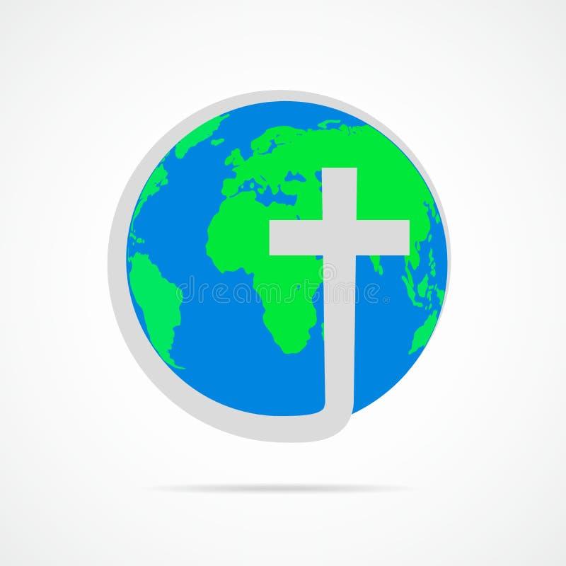 Icône croisée chrétienne avec la terre de globe Illustration de vecteur illustration stock