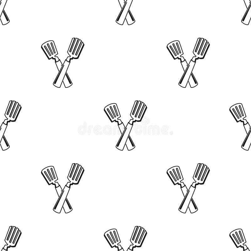 Icône croisée de spatule dans le style noir d'isolement sur le fond blanc Illustration de vecteur d'actions de symbole de pique-n illustration libre de droits