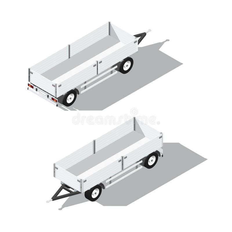 Icône détaillée isométrique de remorque de Sider illustration libre de droits