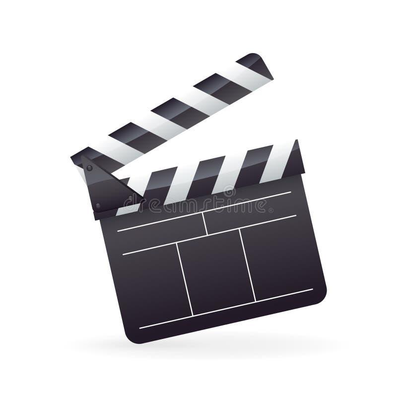 Icône détaillée réaliste de clapet de film de cinéma sur le blanc illustration de vecteur
