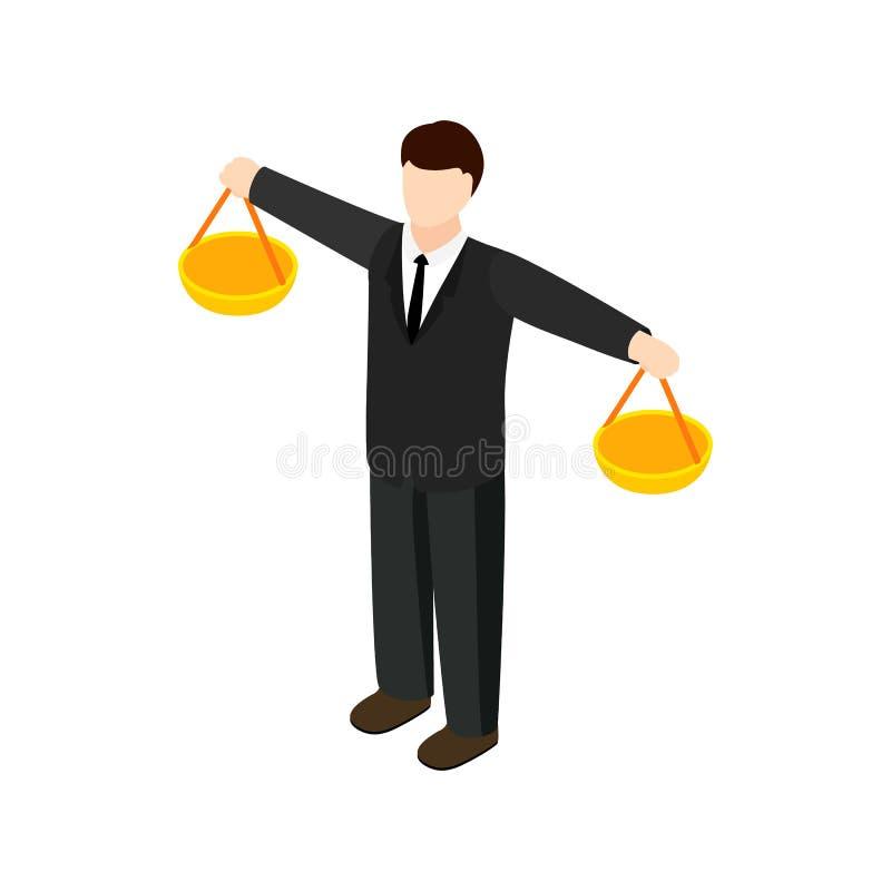 Icône d'échelle d'homme d'affaires, style 3d isométrique illustration de vecteur