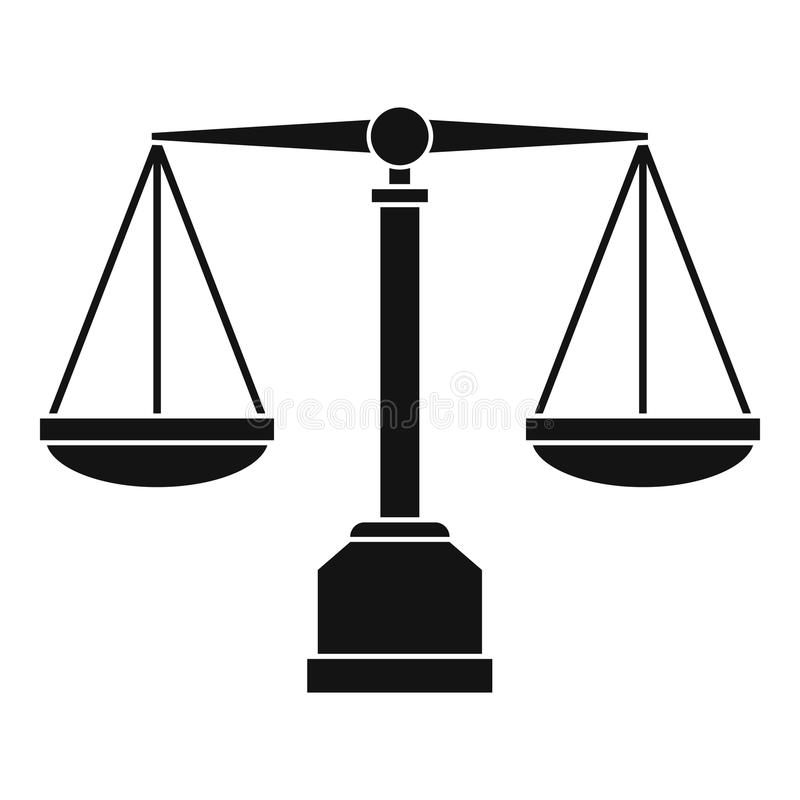 Icône d'échelle de justice, style simple illustration libre de droits