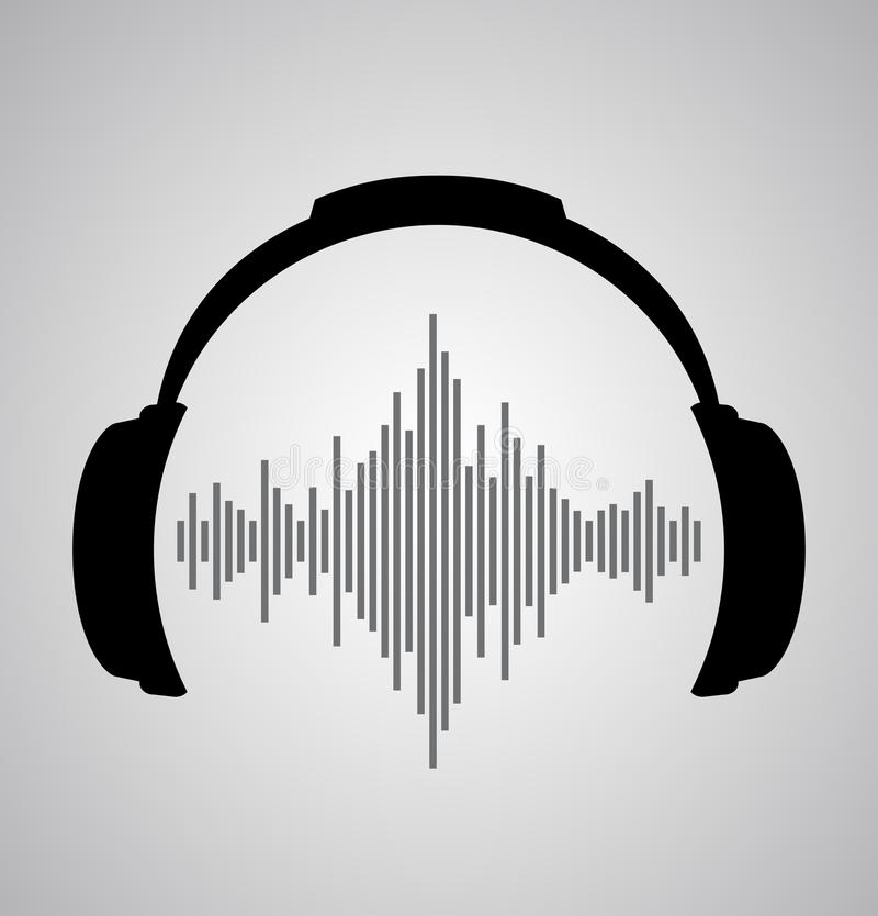Icône d'écouteurs avec des battements d'onde sonore illustration stock