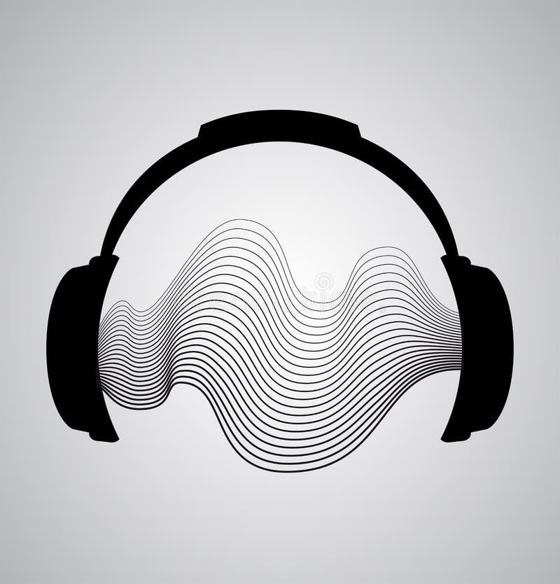 Icône d'écouteurs avec des battements d'onde sonore illustration de vecteur