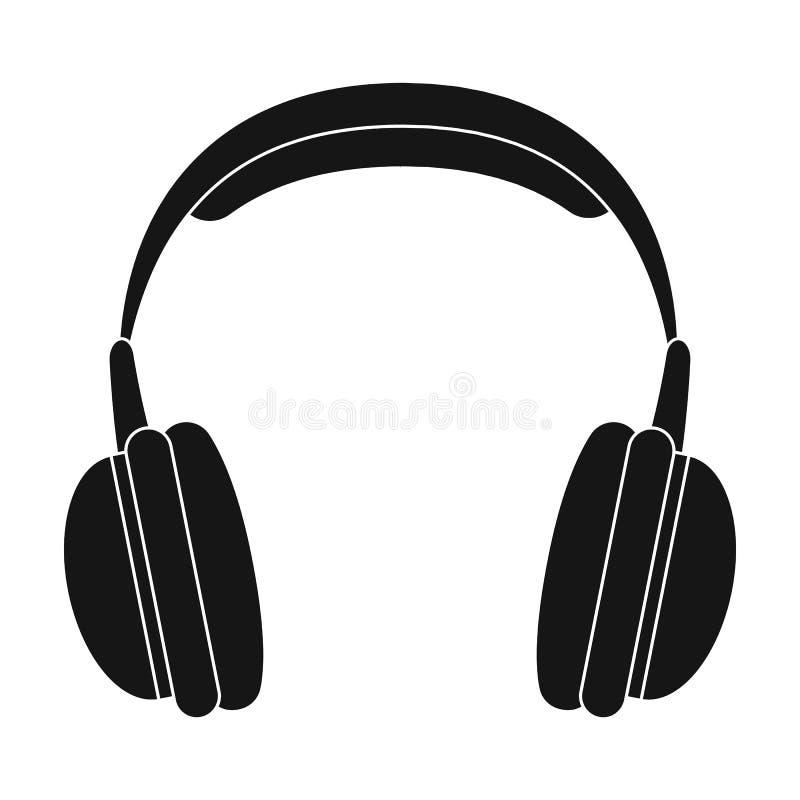 Icône d'écouteurs de vintage dans le style noir d'isolement sur le fond blanc Illustration de vecteur d'actions de symbole de sty illustration libre de droits