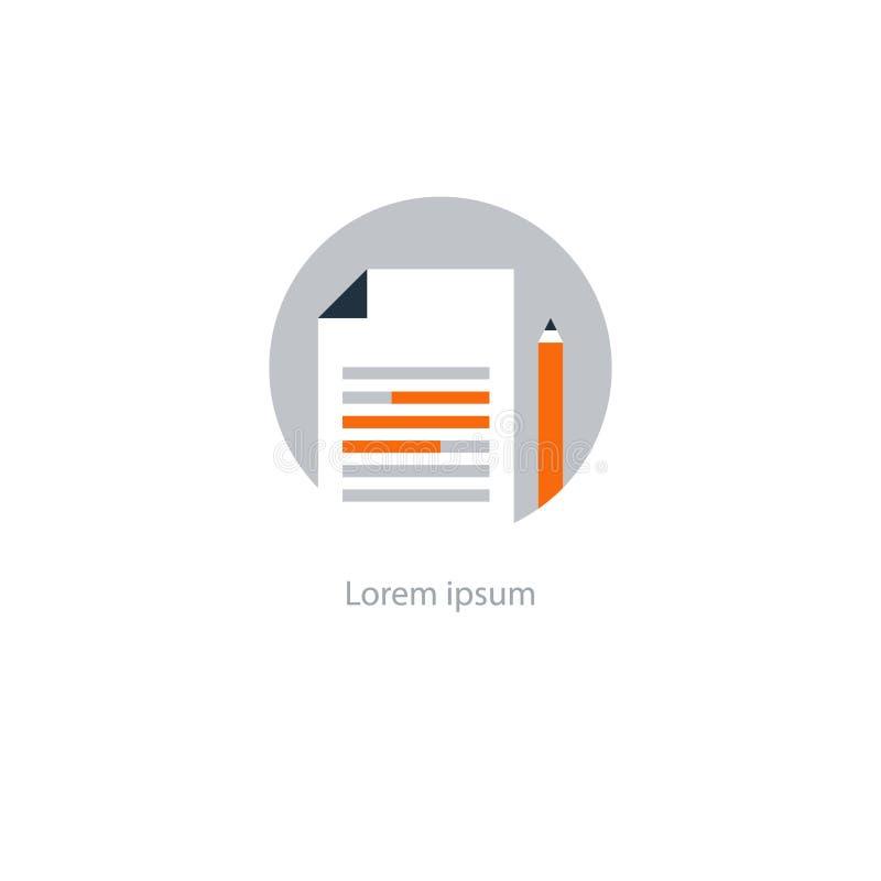Icône d'écriture d'essai, concept d'éducation, fabulation créative, texte récapitulatif illustration libre de droits