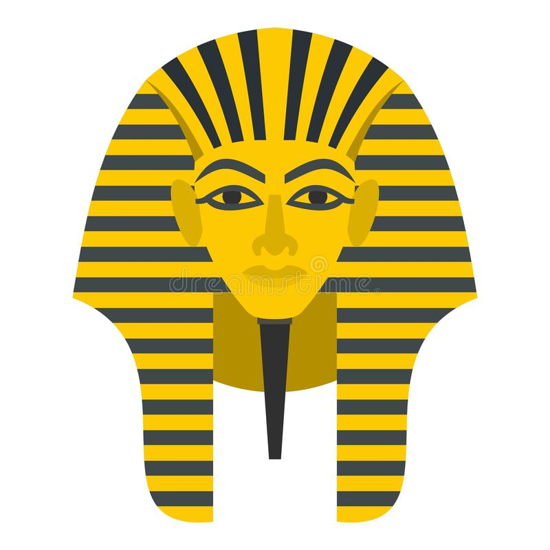 Icône d'or égyptienne de masque de pharaons d'isolement illustration libre de droits