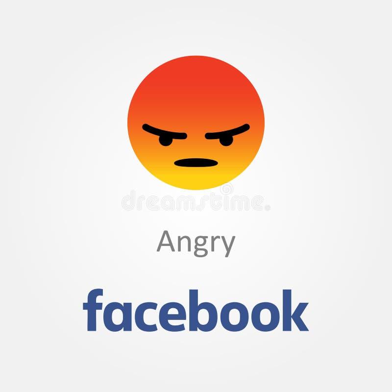 Icône d'émotion de Facebook Vecteur fâché d'emoji de visage illustration de vecteur