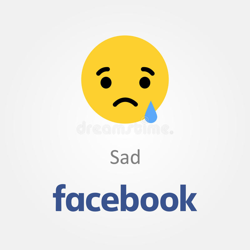 Icône d'émotion de Facebook Vecteur triste d'emoji de visage illustration libre de droits