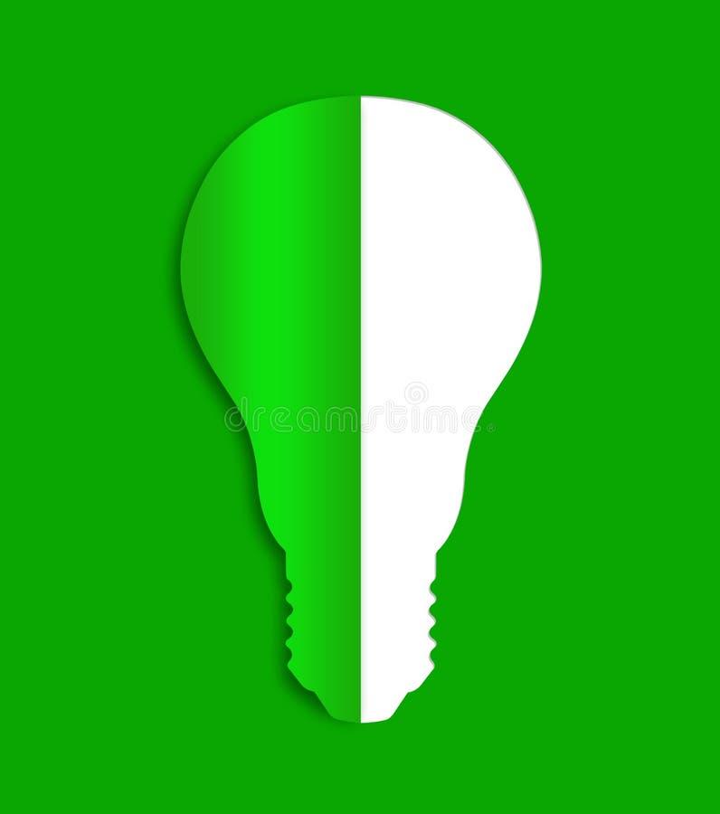 Icône d'énergie d'ampoule d'Eco de papier illustration de vecteur