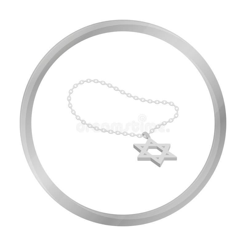 Icône d'étoile de David d'isolement sur le blanc Symbole de religion illustration de vecteur