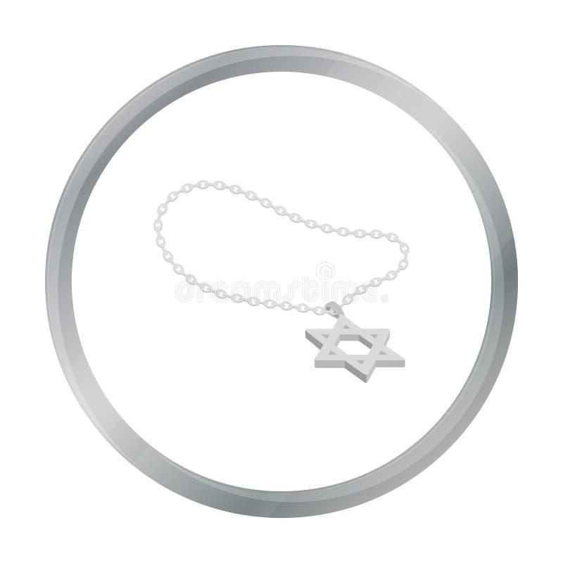 Icône d'étoile de David dans le style de bande dessinée d'isolement sur le fond blanc Actions de symbole de religion illustration de vecteur