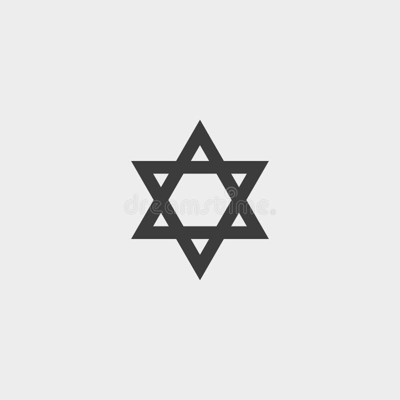 Icône d'étoile de David dans une conception plate dans la couleur noire Illustration EPS10 de vecteur illustration de vecteur