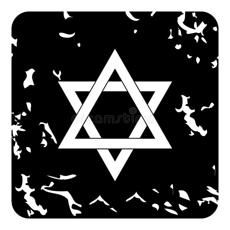 Icône d'étoile de David, style grunge illustration de vecteur