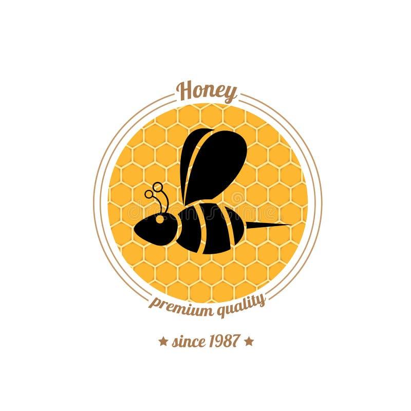 Icône d'abeille de vecteur sur le fond de peigne de miel illustration stock