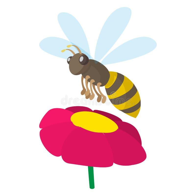 Icône d'abeille, style de bande dessinée illustration stock
