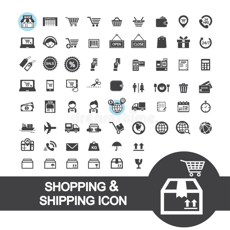 Icône d'achats et d'expédition illustration stock
