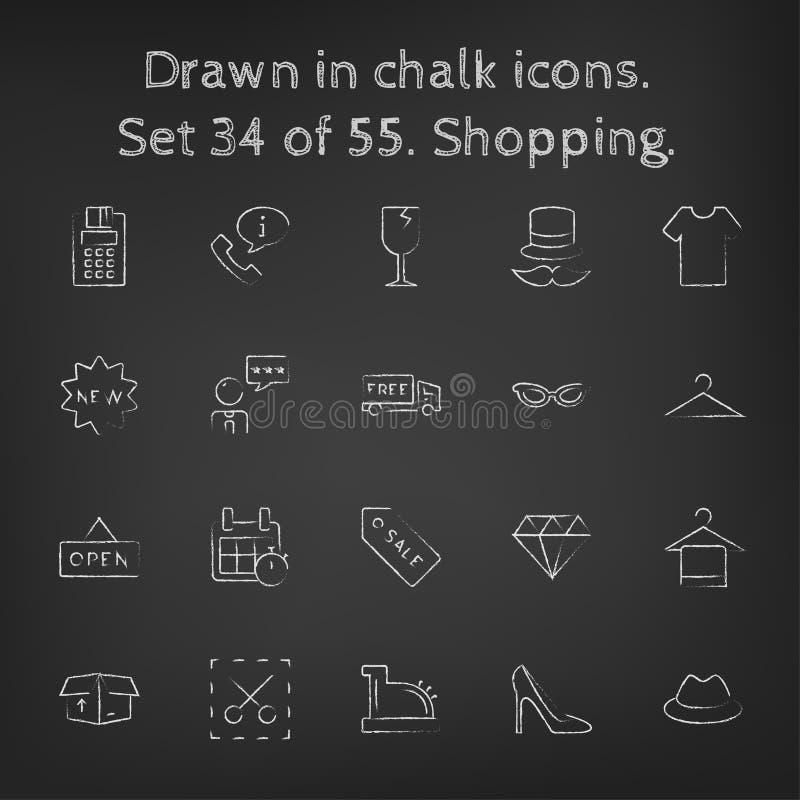Icône d'achats réglée dessinée dans la craie illustration libre de droits