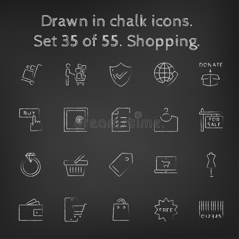 Icône d'achats réglée dessinée dans la craie illustration de vecteur