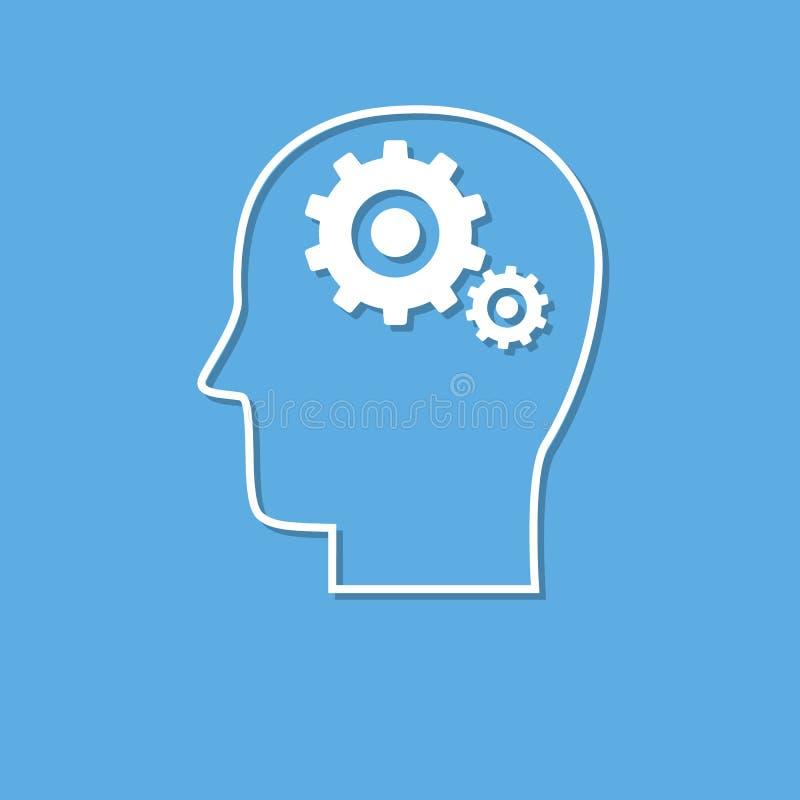 Icône d'activité cérébrale, coupe du livre blanc illustration libre de droits