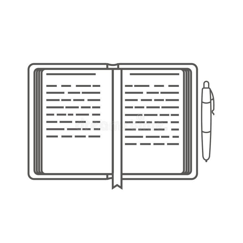 Icône d'affaires, gestion Icône simple de vecteur d'un planificateur de journée 'portes ouvertes' et d'un stylo organisateur Styl illustration de vecteur