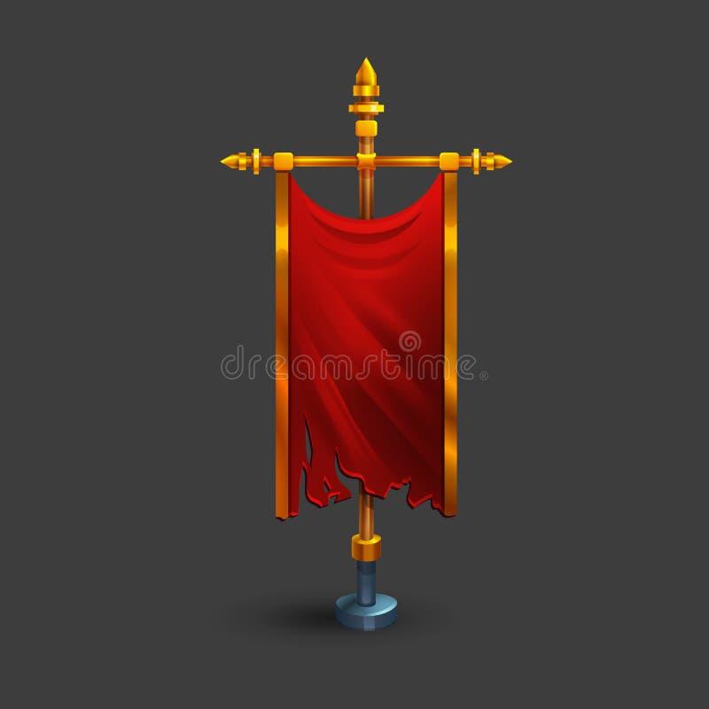 Icône d'alerte verticale médiévale avec le mât de drapeau pour le jeu illustration stock