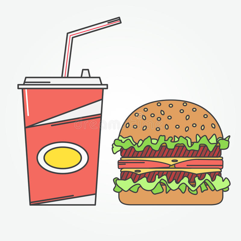 Icône d'aliments de préparation rapide Kola et hamburger d'icône de vecteur Pour le web design et l'interface d'application, auss illustration stock