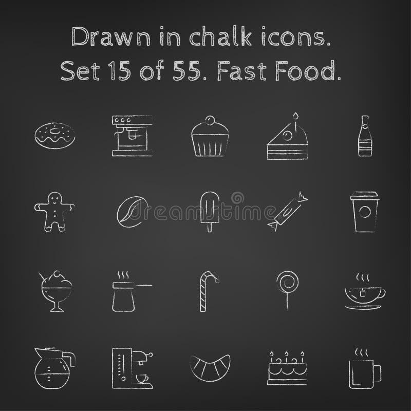 Icône d'aliments de préparation rapide réglée dessinée dans la craie illustration libre de droits