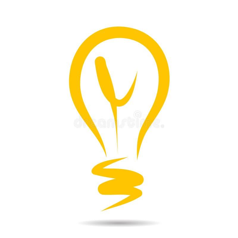 Icône d'ampoule, croquis de symbole d'idée dans le vecteur Signe tiré par la main de griffonnage ENV illustration libre de droits