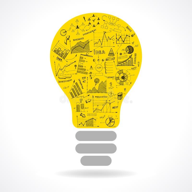 Icône d'ampoule d'idée de griffonnage avec l'infographics illustration stock