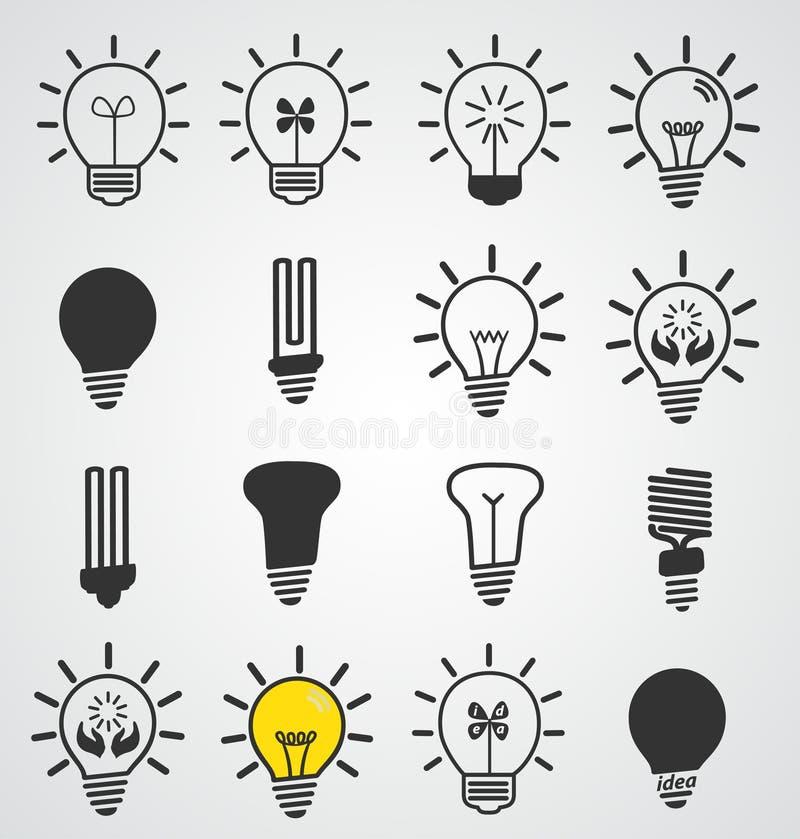 Icône d'ampoule, ensemble de vecteur d'art de concep d'affaires illustration de vecteur