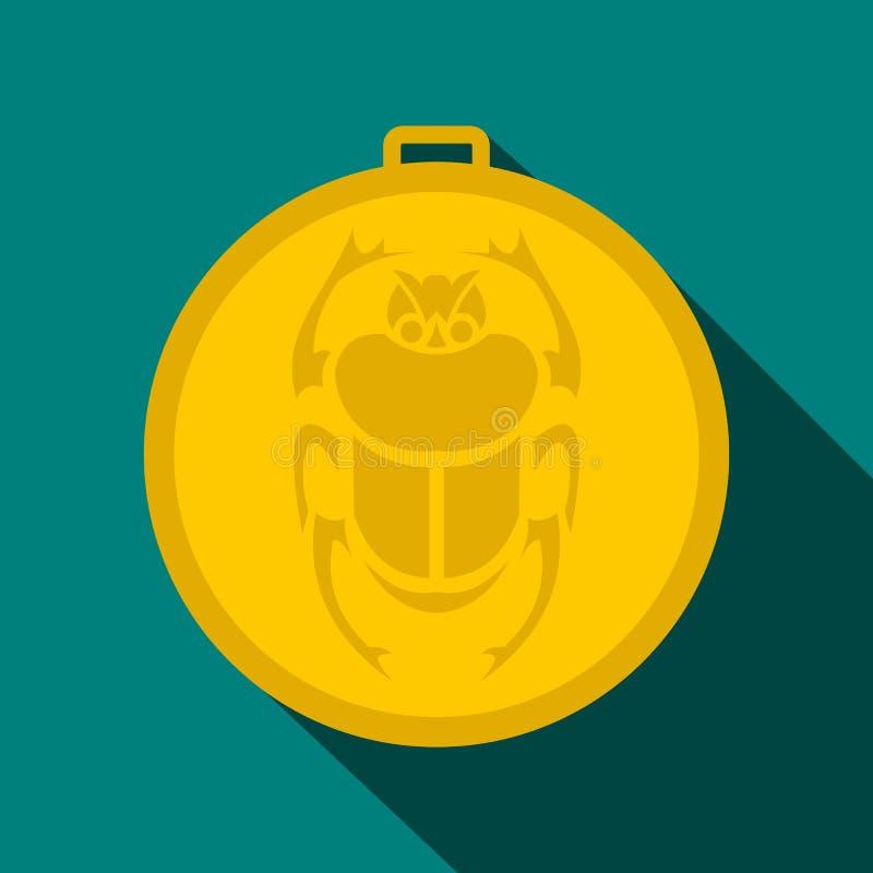 Icône d'amulette de scarabée d'or, style plat illustration stock