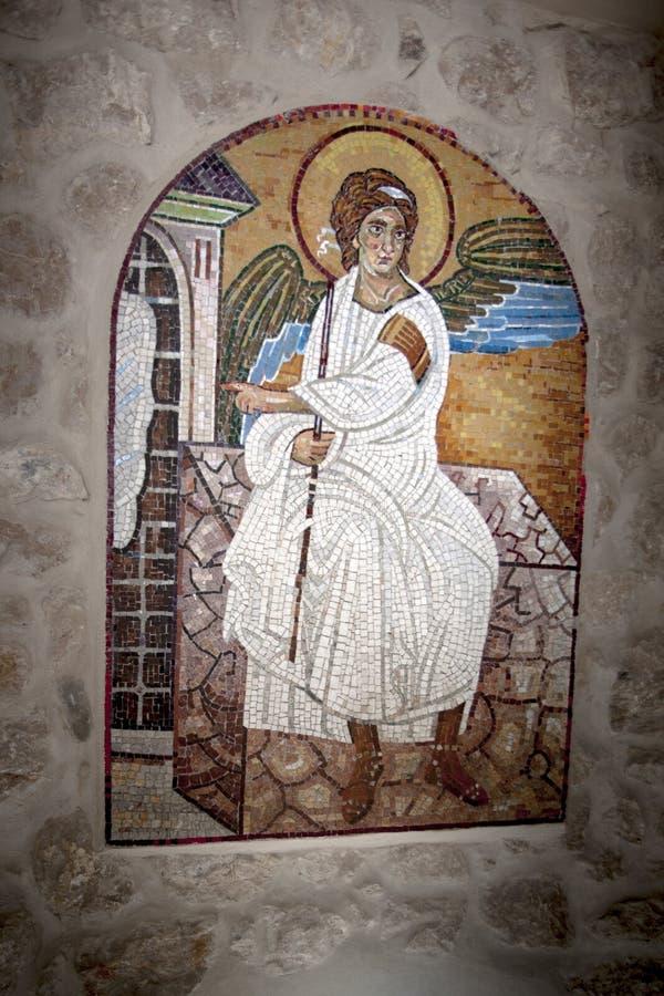 Icône d'ange Image de mosaïque d'Arkhangel dans le monastère chrétien orthodoxe serbe Ostrog, Monténégro photos libres de droits
