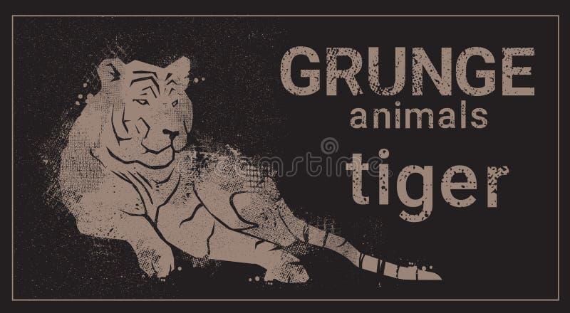 Icône d'animal de Tiger In Grunge Design Style de silhouette illustration libre de droits