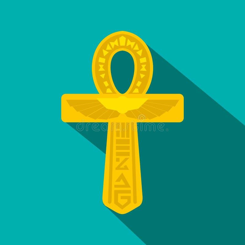Icône d'Ankh Egypte d'or, style plat illustration de vecteur