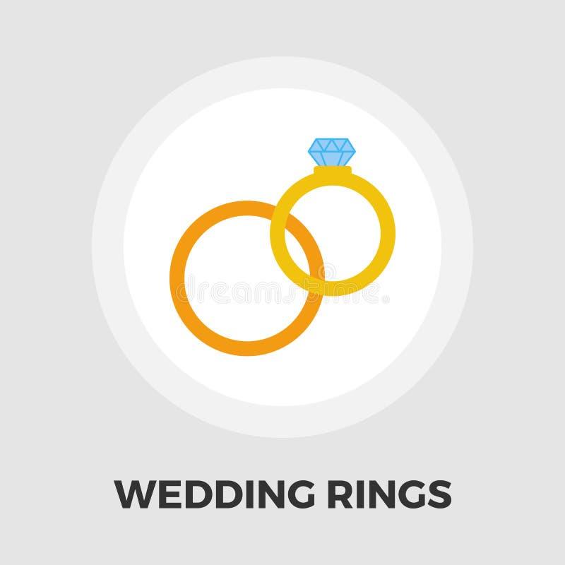 Icône d'anneaux de mariage plate illustration stock